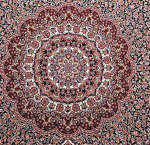 فرش ماشینی زمرد مشهد مدل ریزگل کرمان زمینه سورمه ای